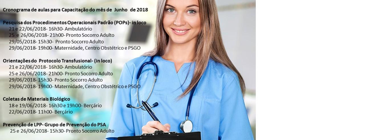 Cronograma de aulas para Capacitação do mês de  Junho  de 2018