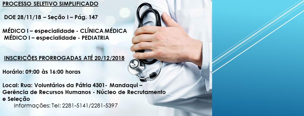 Processo Seletivo MÉDICO I – especialidade  CLÍNICA MÉDICA e PEDIATRIA